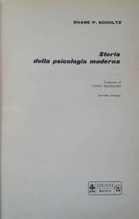 Storia della psicologia moderna.